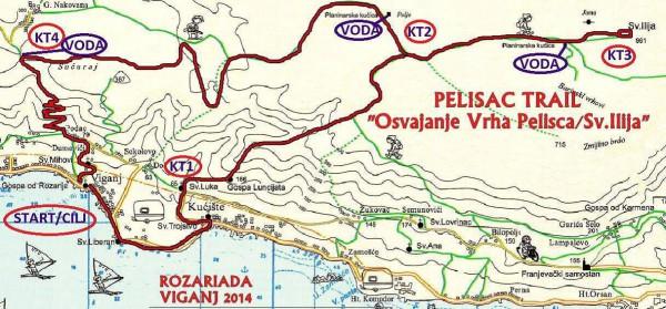 Pelisac trail Osvajanje Vrha Pelješca map